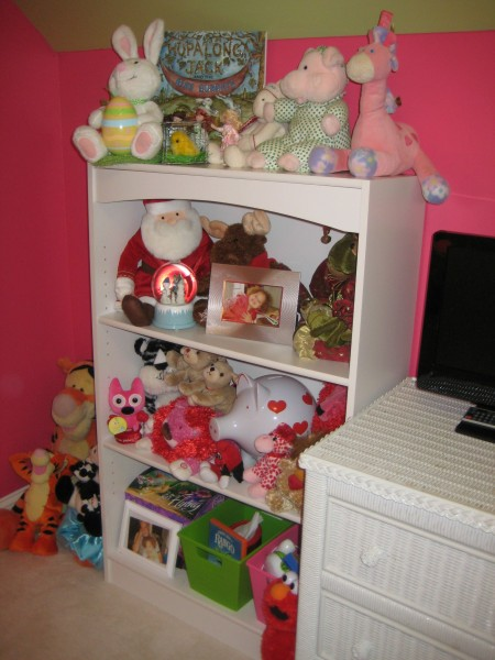 Playroom bookcase with toys