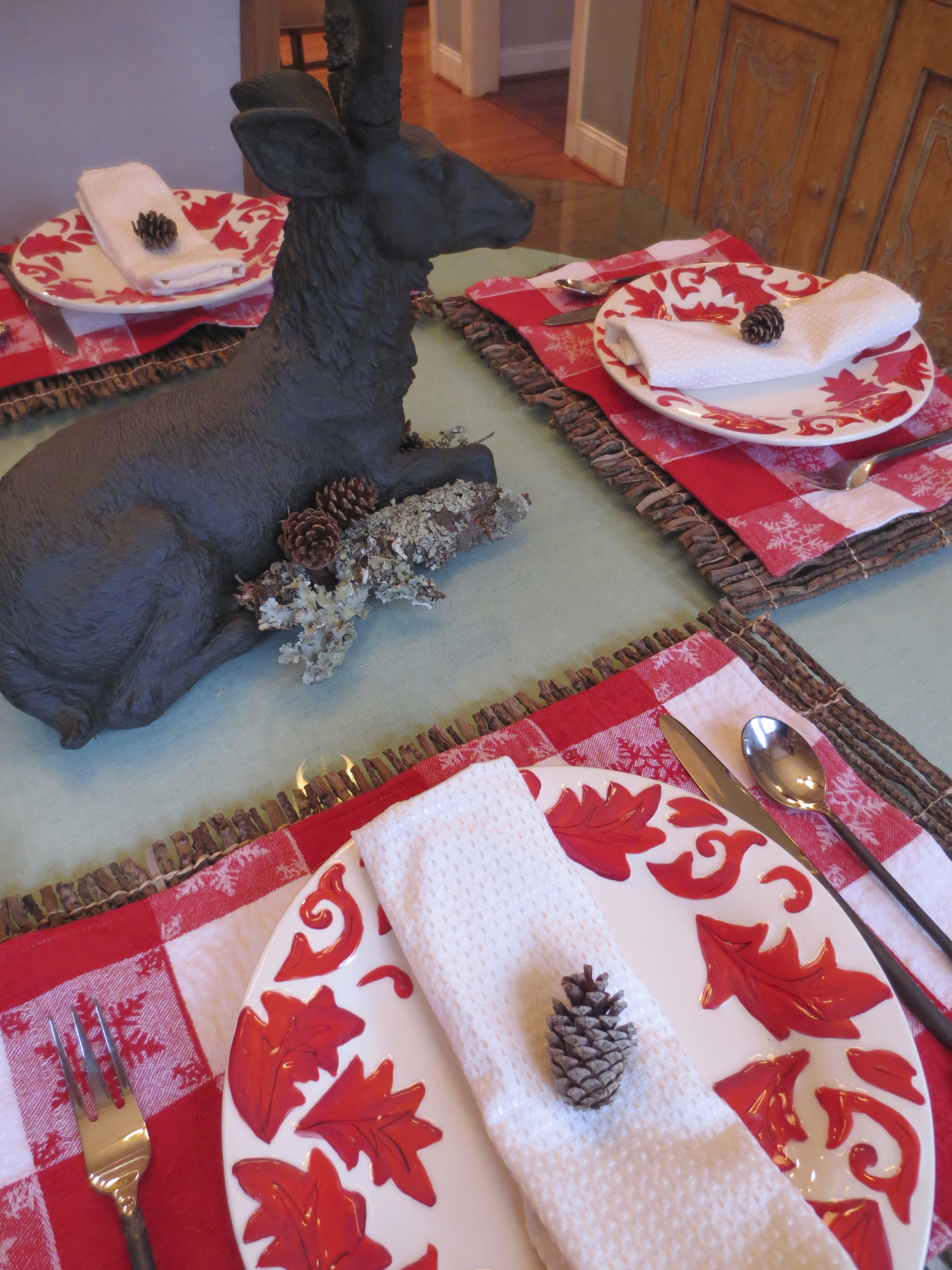 Red plaid place mats and red and white floral plates