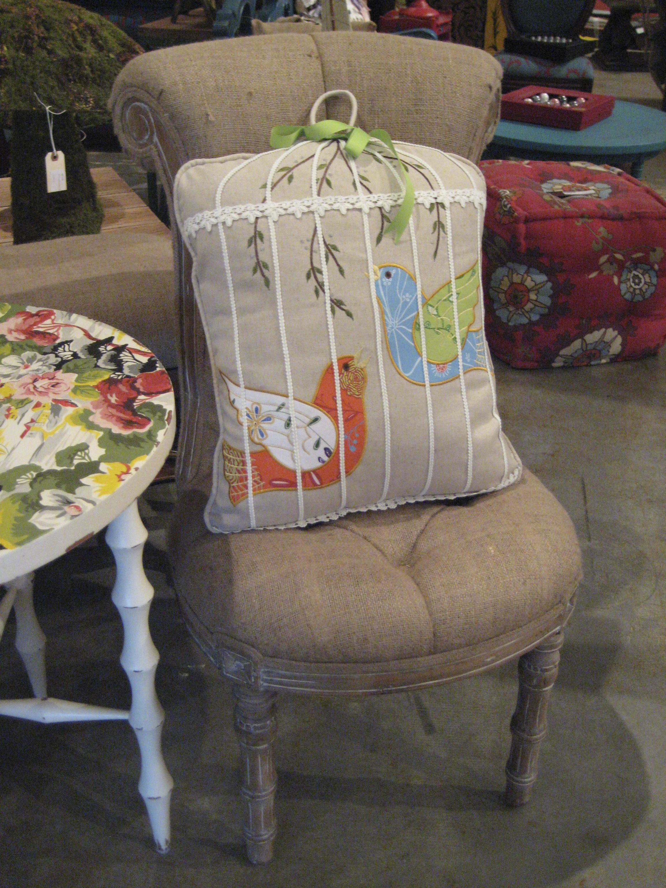 linen bird cage pillow