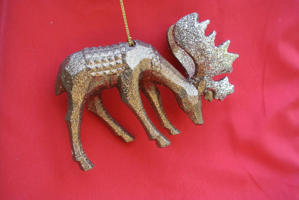 Gold reindeer ornament