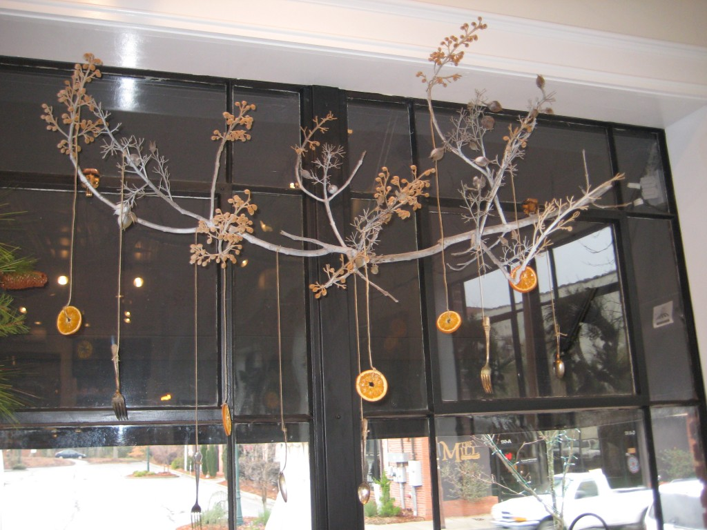 Branch decorated for Christmas
