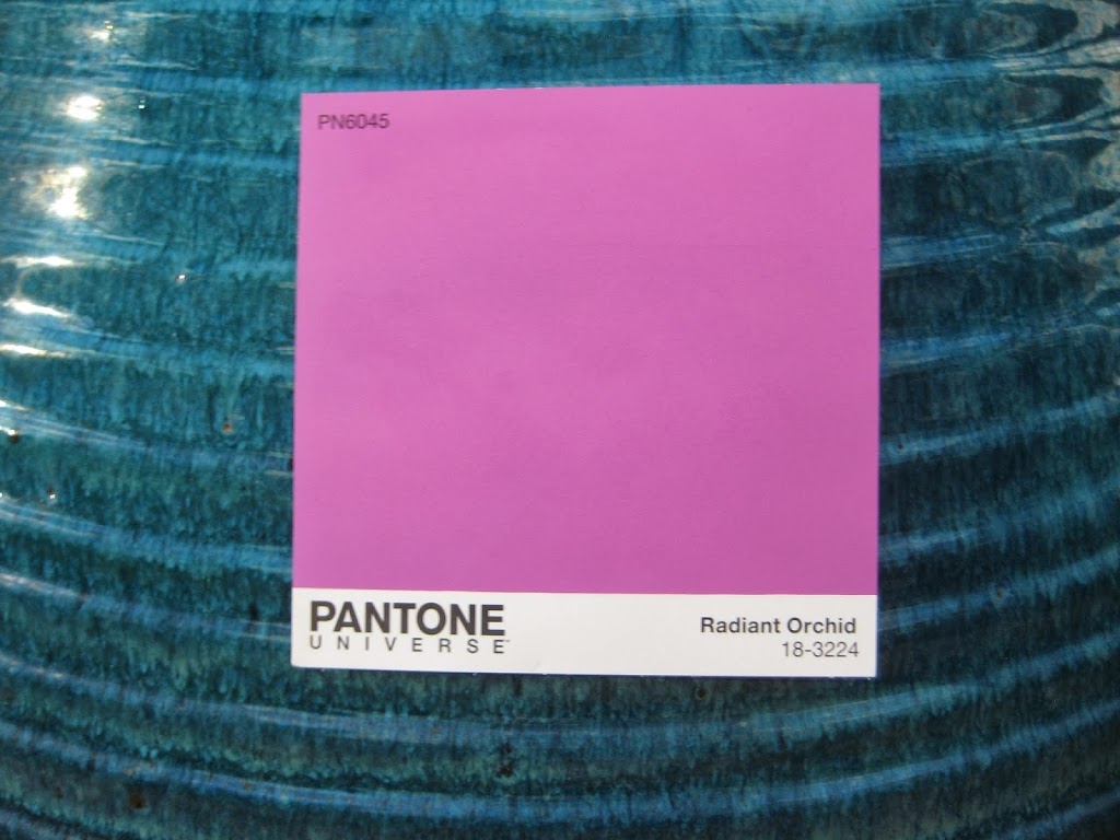 Radiant Orchid with aqua
