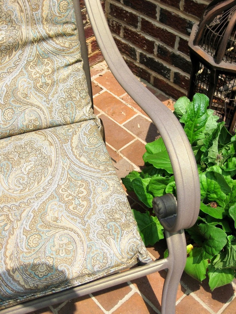 Paisley outdoor cushions in aqua and tan