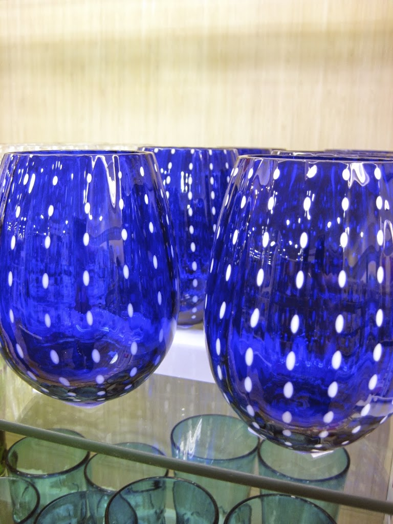 stylish blue glass ware with white dots