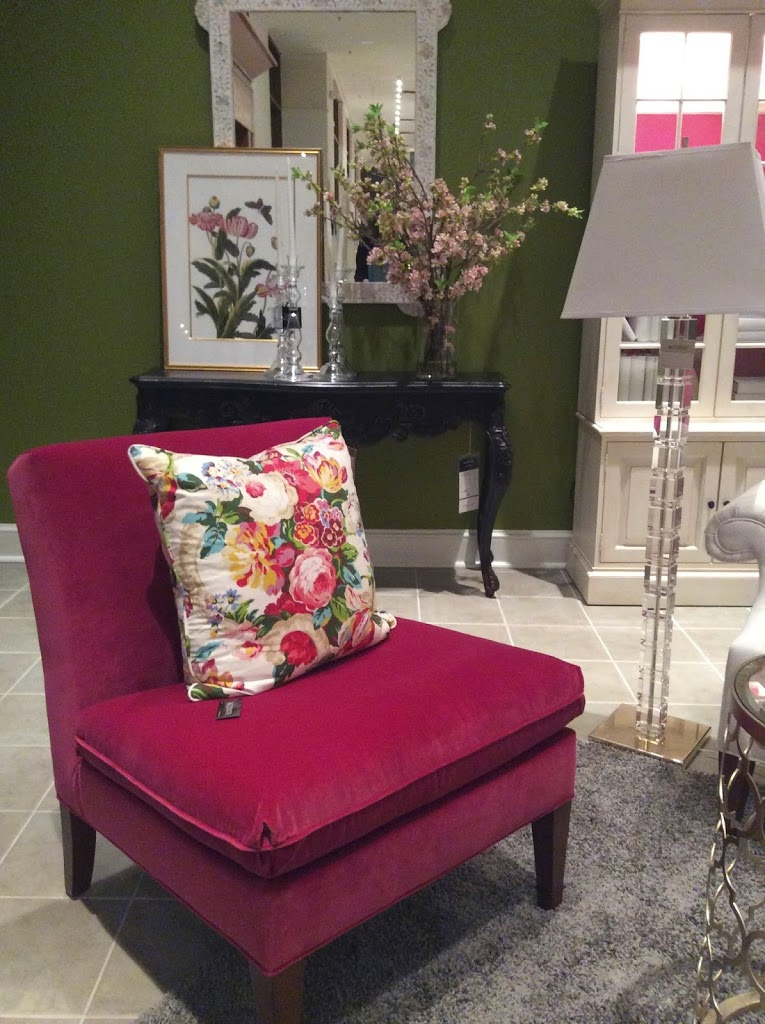 Magenta slipper chair Ethan Allen