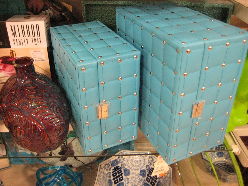blue leather silver studded boxes