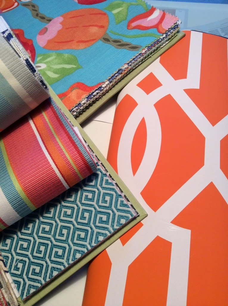 Thibaut Resort Collection Orange Aqua and Lime green