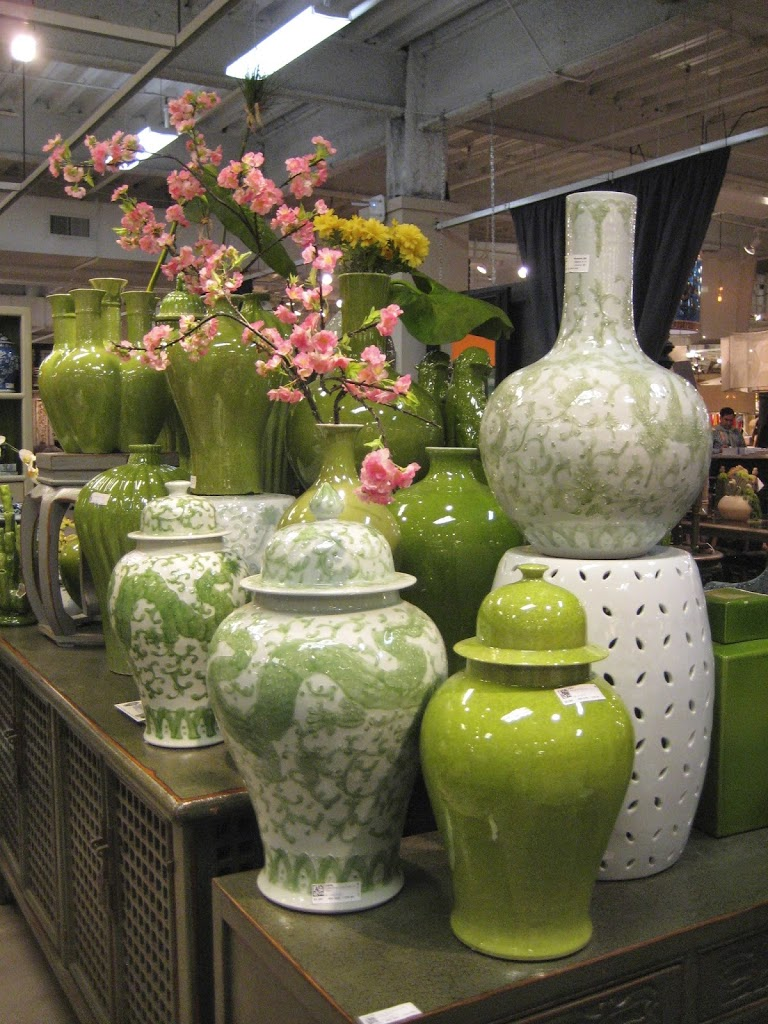 Lime green and celadon ginger jars.