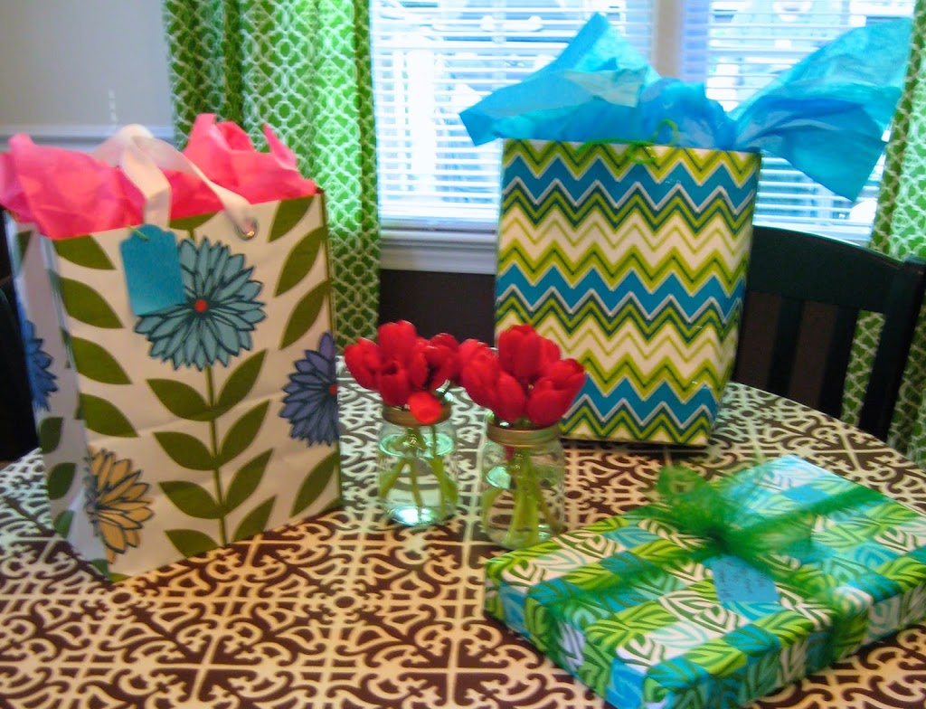 blue and green gift bags