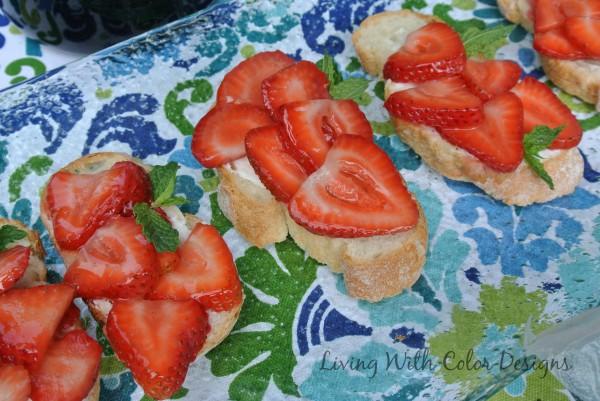Strawberry Crustini's -Living With Color Designs & The Table Farmhouse and Bakery