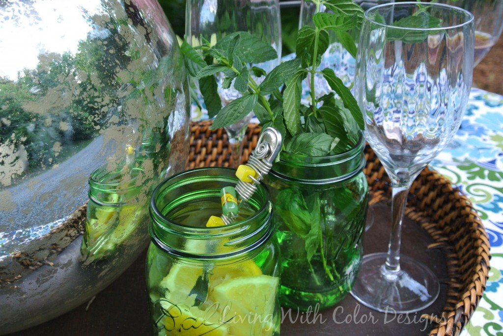 Mercury glass gazing ball  Garden Tablescape - Living With Color Designs & The Table Farmhouse and Bakery
