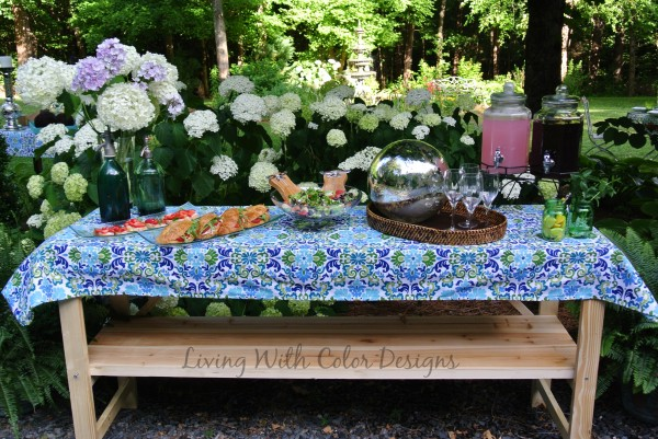 potting table converted to buffet table -Living With Color Designs & The Table Farmhouse and Bakery