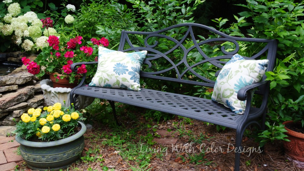 Garden bench-  Living With Color Designs