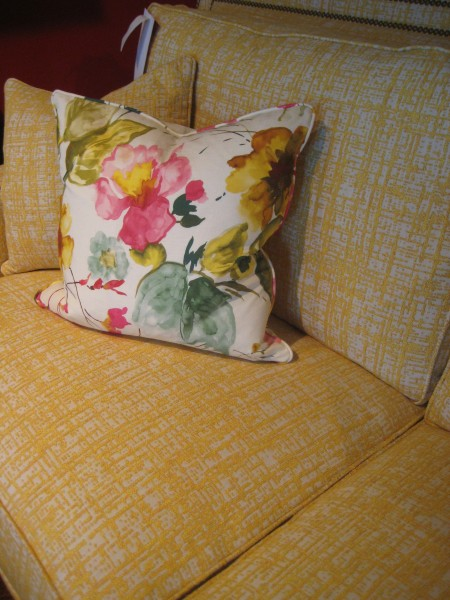 Yellow boucle sofa by Harden