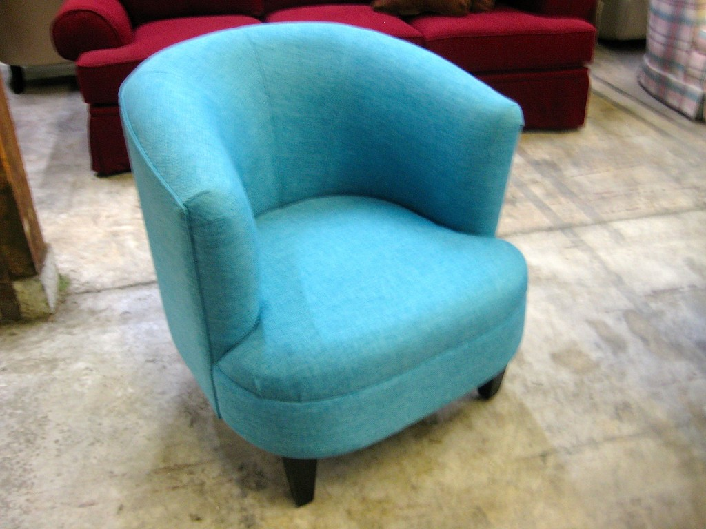 Small barrel back chair in aqua