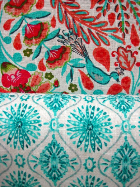 Modern fabrics with retro style. Aqua and red combination.  livingwithcolordesigns.com