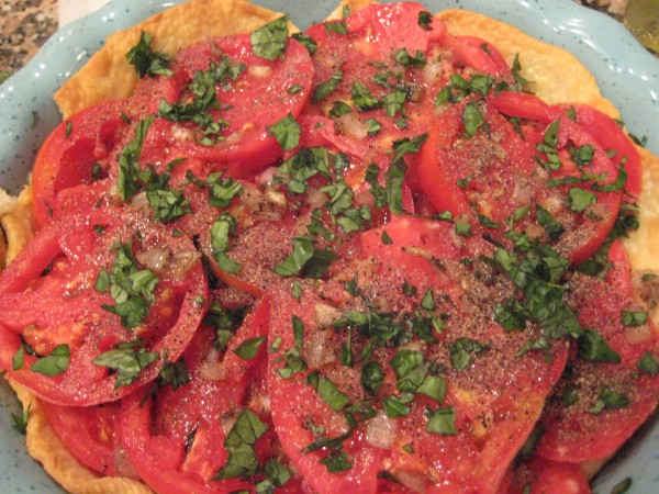 Fresh layers of tomato pie - Living With Color Designs