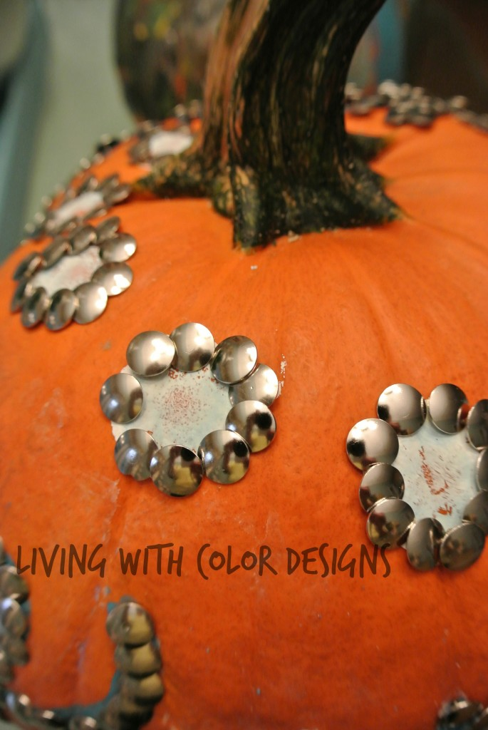 Thumb tac detail on decorated pumpkin - Living With Color Designs