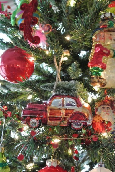 Needlepoint Santa's and vintage panel car ornament with tree on top. - Living With Color Designs