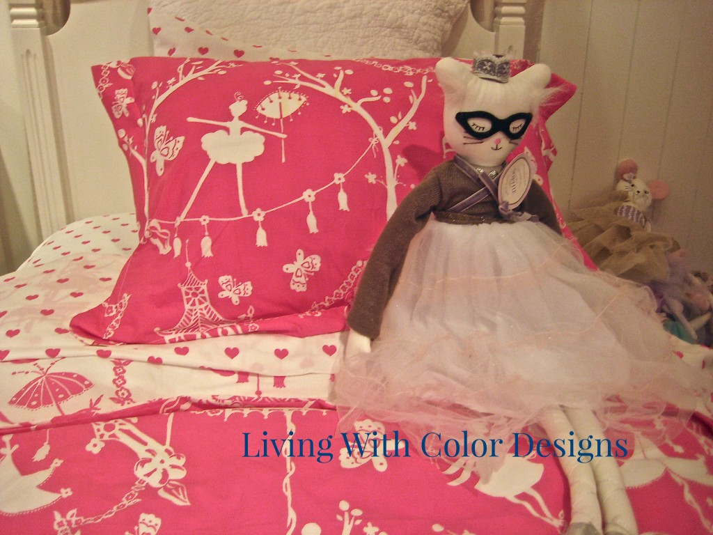 Hot pink chinoiserie for kids- bedding for girls from Pottery Barn- Living With Color Designs