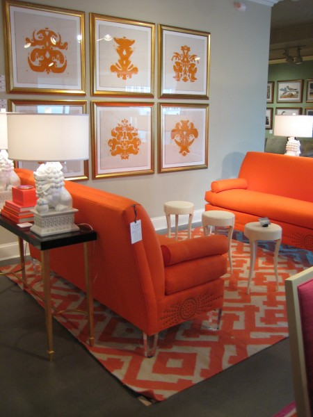 Bright and Bold Orange sofas and art prints- Tobi Fairley Collection - Living With Color Designs