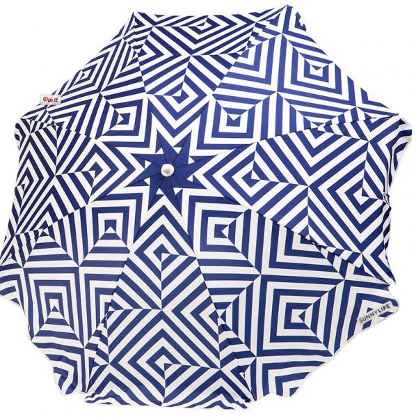 Staycation Blue and White Patterned Umbrella- Living With Color Designs