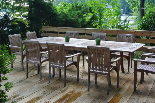 #1 Reason To Add An Outdoor Dining Space- 0utdoor Dining Space- Teak table and chairs- Living With Color Designs