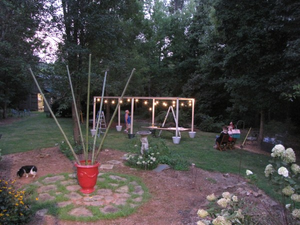 DIY: Hanging Outdoor String Lights- Almost finished - Living With Color Designs