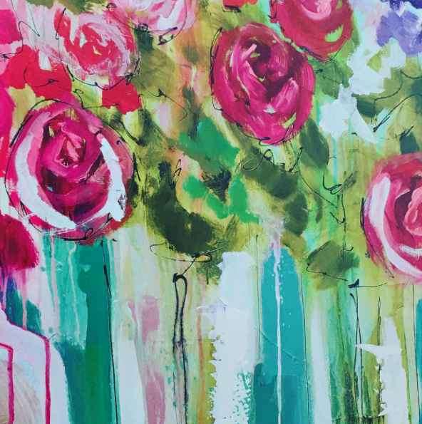 favorite color to live with- Modern Floral Painting - Living With Color