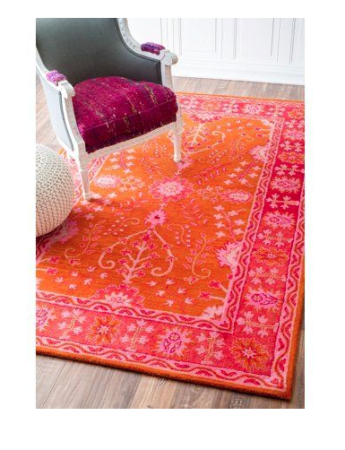 Gita Rug, Traditional design in modern colors of Sizzling Orange and Pink : Living With Color Designs Blog