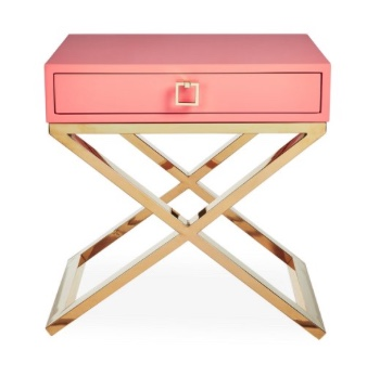 Boca Nightstand, Coral:Gold- Living With Color Designs