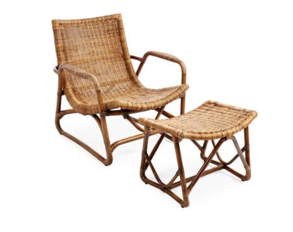 Rattan Lounger & Ottoman, Natural- British Colonial Style: Living With Color Designs