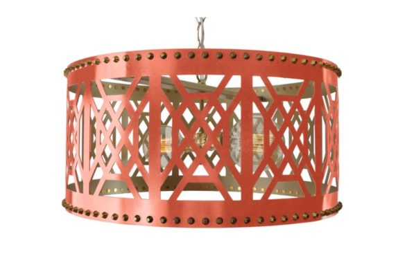 Fretwork Pendant- Coral- Taylor Burke- Living With Color Designs