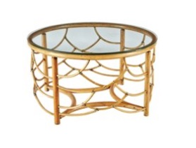 Rattan Round Coffee Table,- British Colonial Style: Living With Color Designs