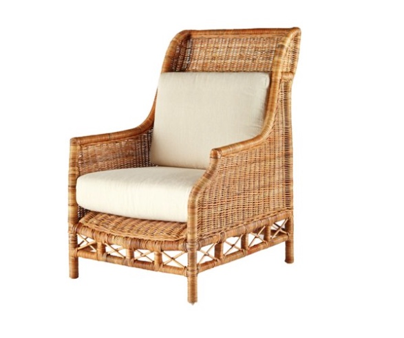 Rattan Wing Chair, Natural:Ivory- British Colonial Style: Living With Color Designs