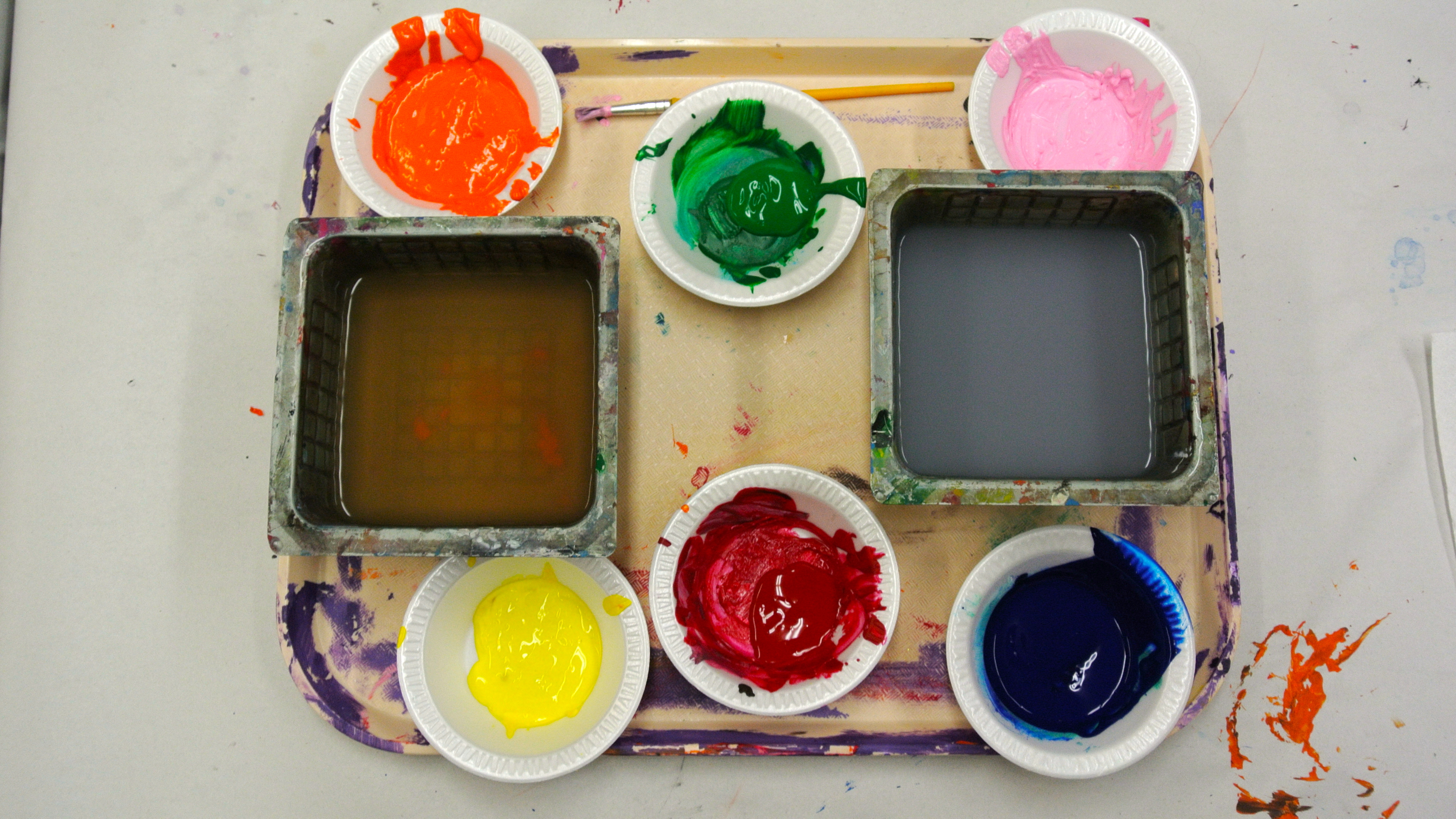 paint pots- art camp Randolph Arts Guild and Living With color Designs