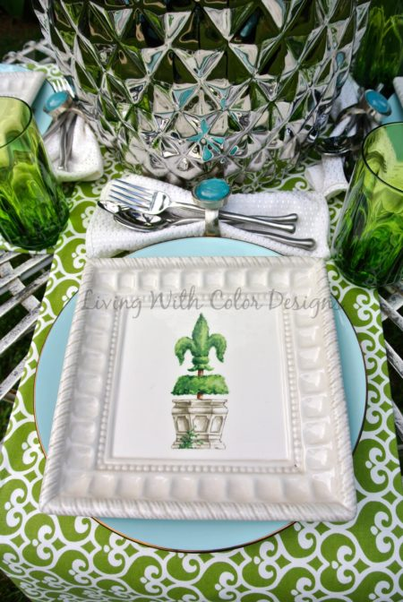 Garden Theme Tablescape - Living With Color Designs & The Table Farmhouse and Bakery