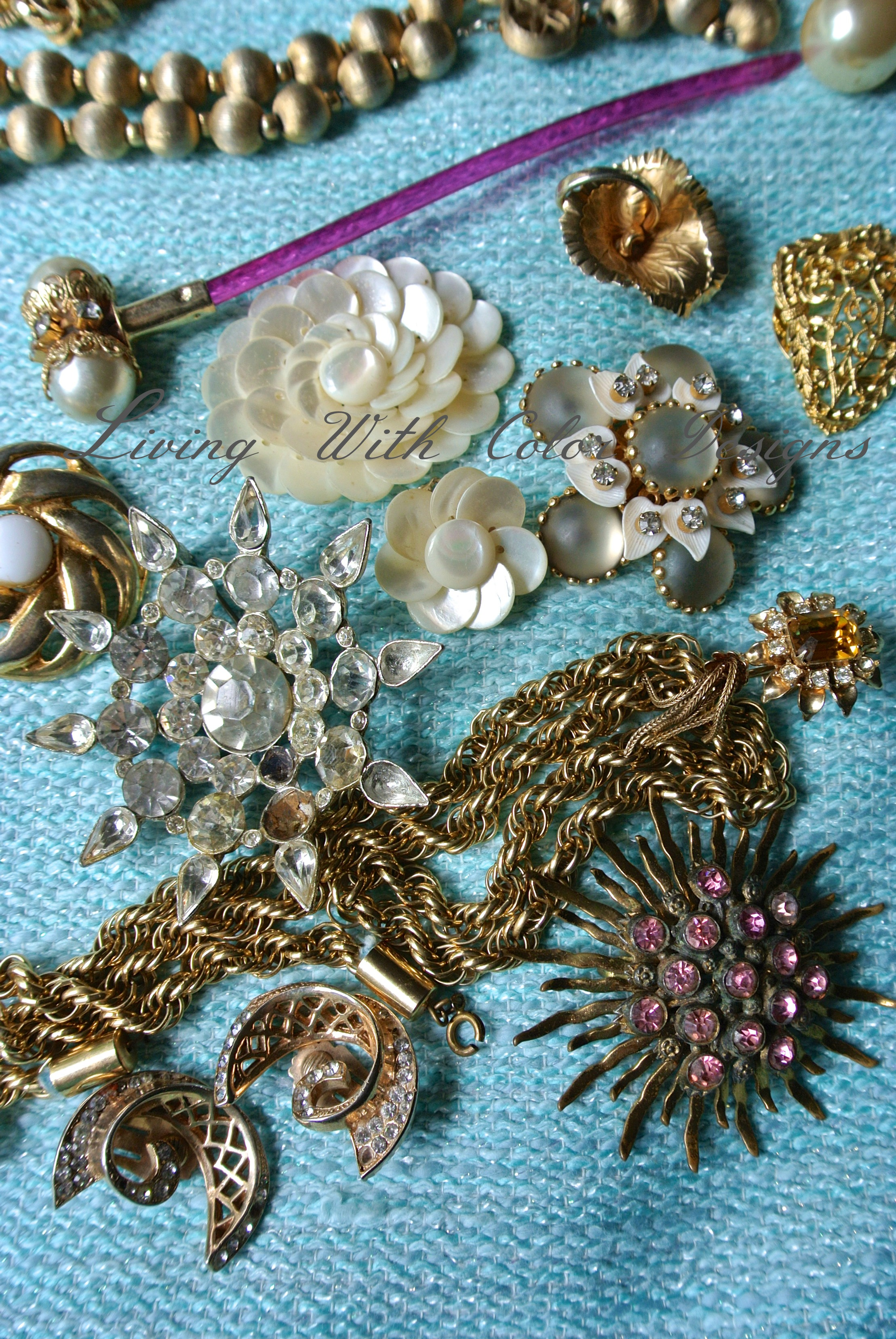 Assortment of costume jewelry livingwithcolordesigns.com & vintage Archives - Living With Color Designs