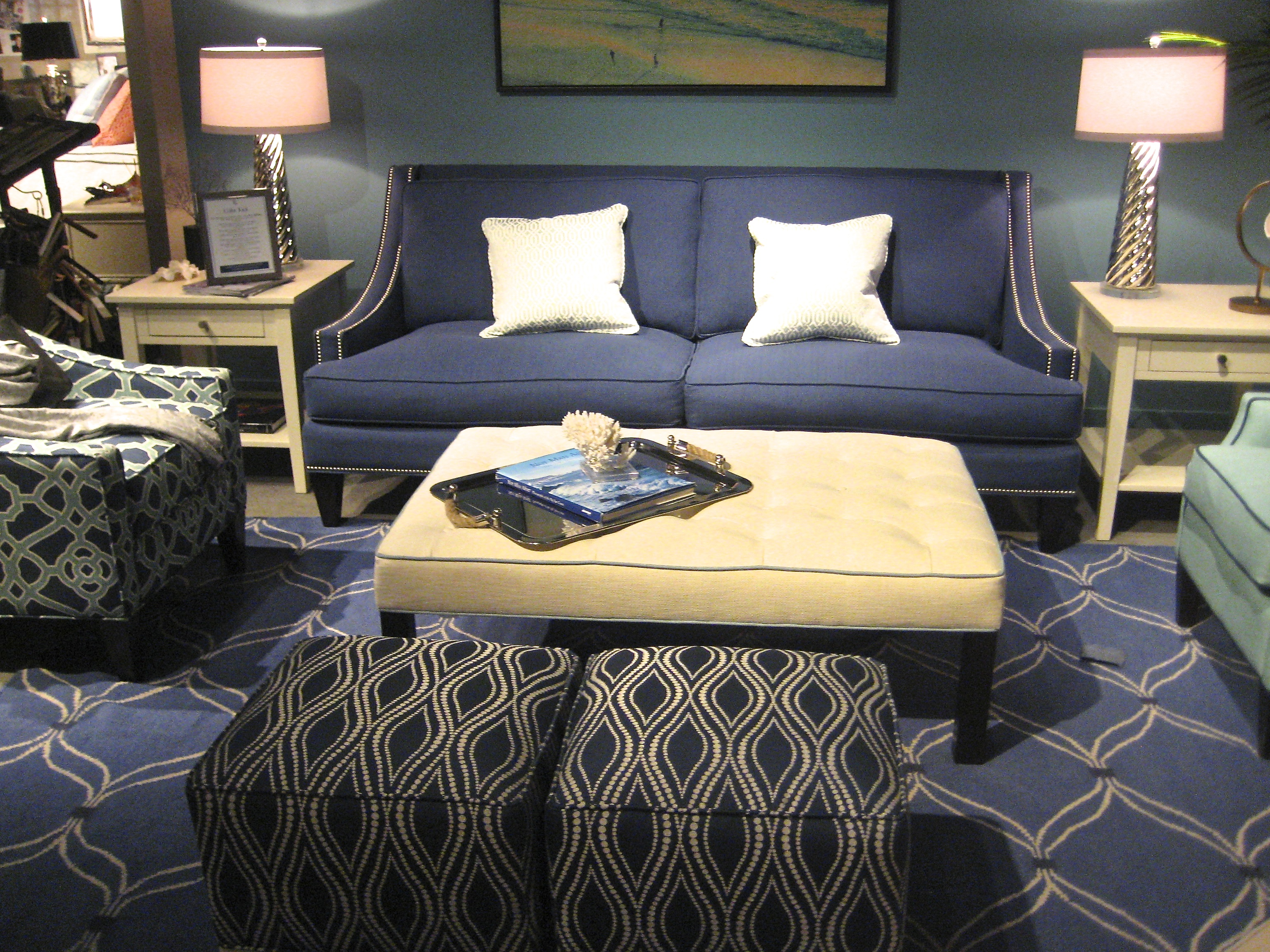 High Back sofa with sloping arms by Libby Langdon Upholstry - Living With Color Designs Blog