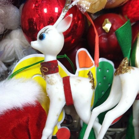 Snowy Winter Scenes With Vintage Reindeer: vintage reindeer ornaments