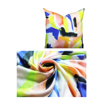 """Brushstrokes Silk Scarf, Yellow