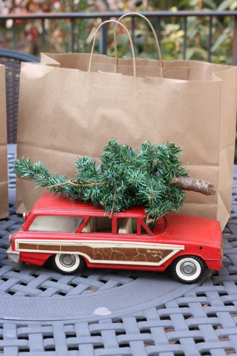 Chartreuse Barn Sale- Vintage: Living With Color Designs Blog - vintage toy paneled station wagon with Christmas Tree