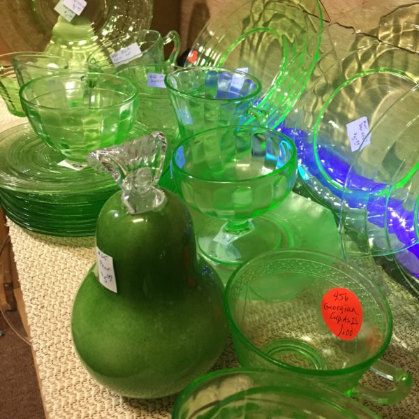 Green depression glass mixes well with Pantone's Greenery