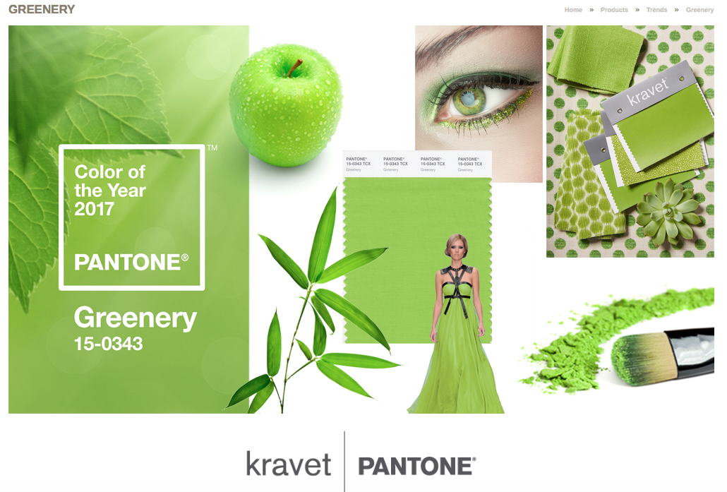 color of the year Greenery inspiration board kravet and pantone