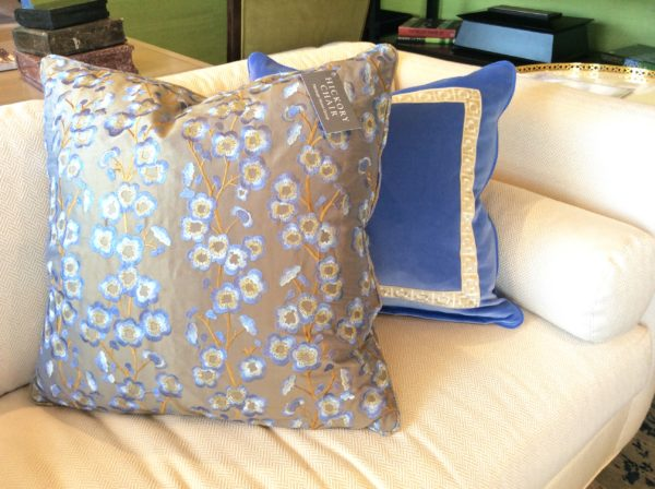 Sapphire Blue pillows in plush velvet and floral silk