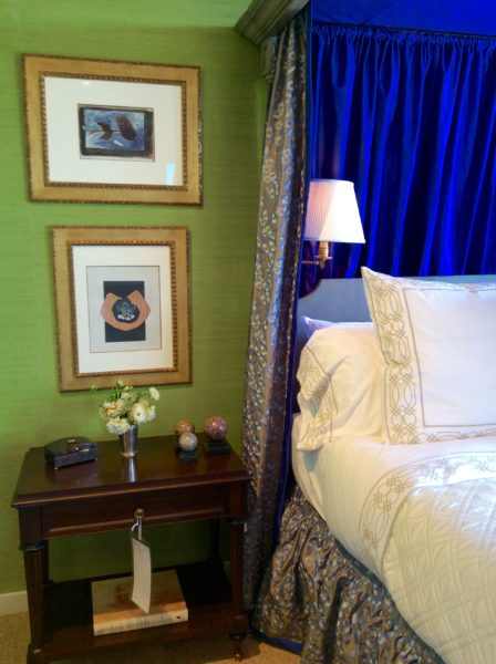 Sapphire Blue & Spring Green Colorful Bedroom with four poster bed