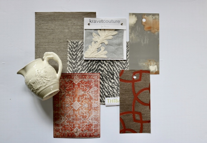 Inspiration Board- New Neutrals for interior design combines smoky grey and rust.